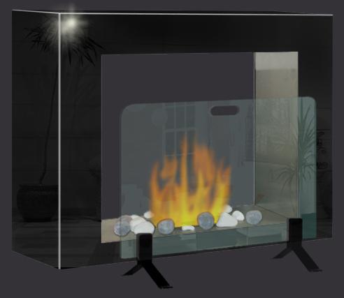 Kit pare feu chemin e au sol chemin e bio ethanol accessoires - Pare feu cheminee design ...