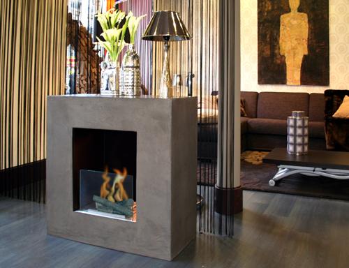 Cube b ton cir bio ethanol chemin e gamme standard a poser au sol par dir - Beton cire pour cheminee ...